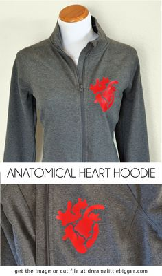 LOVE this anatomical heart jacket. Get the free image or Silhouette cut file to use however you please.