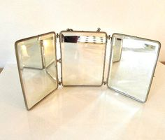 French Vintage Three Way/Tri Fold Shaving Vanity Mirror