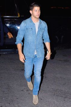 nick jonas outfits best outfits - Page 9 of 101 - Celebrity Style and Fashion Trends Nick Jonas Images, Stylish Men, Men Casual, Denim Shirt, Jeans, Best Dressed Man, Jonas Brothers, Handsome Actors, Celebrity Style