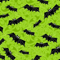 Polycotton Fabric Mini Bat Silhouette Halloween Bats Vampire Gothic