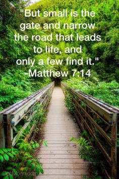 But small is the gate, and narrow is the road that leads to life, and only a few find it. - Matthew 7:14