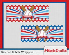 Baseball themed bubble wrappers, great for handing out at the end of the season party, or for a baseball birthday party!
