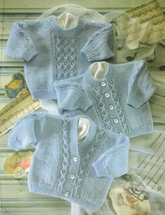 This is a Pdf knitting pattern for a baby cardigan and jumper set with cable design To fit 0 - 2 years Chest 16 - 22 inch Worked in Snuggly DK Baby Cardigan Knitting Pattern Free, Crochet Baby Jacket, Baby Boy Knitting Patterns, Knitted Baby Cardigan, Knitting For Kids, Knitting Designs, Baby Patterns, Free Knitting, Double Knitting