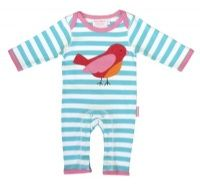 A cute Bird applique sleepsuit by UK designer Toby Tiger.  100% super soft cotton.  £21.99