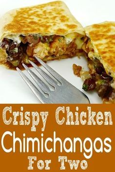 Crispy Chicken Chimichangas Recipe for Two - Chimichangas are usually deep fried but this method is quick and results in an equally crispy tortilla with a satisfying chicken, cheese, and black bean filling. This is a perfect dinner or lunch for two. Lunch Recipes, Dinner Recipes, Cooking Recipes, Healthy Recipes, Delicious Recipes, Cooking For Two, Batch Cooking, Cooking Beets, Cooking Fish