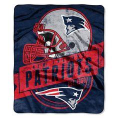 New England Patriots Royal Plush Raschel Blanket (Grand Stand Raschel) (50in x 60in)