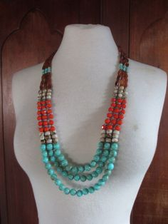 Amber, Coral, and Turquoise Long Bead Necklace  Womens by DreFindsVintage available for sale: http://www.etsy.com/listing/92031465/triple-strand-long-bead-necklace-womens?ref=af_shop_favitem