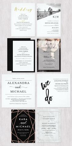 Choose your favorite from a curated collection of modern and elegant wedding invitations, all with an extra touch of style. We've created designs with faux gold, black and white, marble, and other trendy yet classic touches.