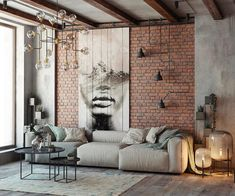 Everyone will love the modern style of the loft in the design of the living room, if you properly beat all its benefits. We have collected over 100 photos of the loft living room design to get your attention. Loft Interior Design, Industrial Interior Design, Loft Design, Industrial Interiors, House Design, Vintage Industrial, Interior Colors, Industrial Living, Industrial Loft