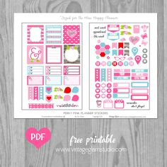 Free Printable Perky Pink Planner Stickers for the Mini Happy Planner from Vintage Glam Studio