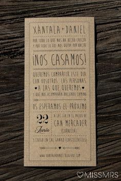 Invitaciones rústicas modernas y 22 Ideas de Invitaciones Rústicas y Originales para Bodas Wedding 2015, Wedding Art, Wedding Events, Our Wedding, Wedding Stationery, Wedding Planner, Wedding Invitations, Cute Wedding Ideas, Perfect Wedding