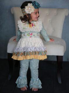 Giggle Moon Sea of Glass Tutu Dress w/Ruffle Leggings (PreOrder)