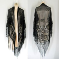 Sheer Black Shawl Boho Chic Clothing Fringe by TheVilleVintage, $60.00