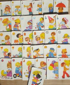 Vintage kwartet kaarten, 31 stuks, Zwarte Piet, 10 x 6,5 cm, hobbymateriaal, spelonderdelen by LabelsAndMore on Etsy