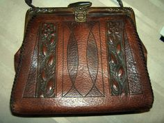 12608348e0 Arts Crafts Art Nouveau Tooled Leather Purse Turnloc Pat 1915 1918 Suede  Int