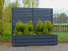 Pflanzkasten Holz Lang L mit Sichtschutz Long plant box with privacy screen, covered in oiled anthra Pergola Garden, Pergola Shade, Diy Pergola, Pergola Kits, Modern Pergola, Pergola Roof, Pergola Ideas, Garden Dividers, Cottage Exterior