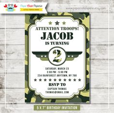 Camouflage Birthday Party Invitation / DIY by PapaCrabPaperie