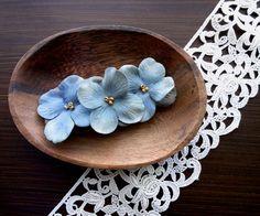 花びらのバレッタ■アンティーク風ベルベッドの花びら■ブルーグレーピンクグリーン - Salvage c works