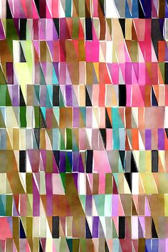 Watercolor Triangles by joanmclemore. Muted rainbow tones that would be perfect for a quilt or throw pillows! Abstract painterly abstract triangles and lines on fabric, wallpaper, and gift wrap.