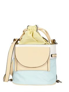 Kenzo Leather and Nylon Shoulder Bag in Blue