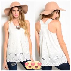 Flower detail tank top Fits true to size. Price is firm. 100% cotton. Not lined. Tops Tank Tops