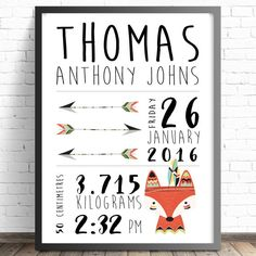 Personalised Birth Print | Tribal Nursery Wall Art Print | Fox Prints | Custom Prints |  A4 A3 | Tribal Nursery & Bedroom Decor