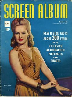 movie magazines of the 1950s | JUNE 1942 SCREEN ALBUM MAGAZINE BETTY GRABLE. ON COVER