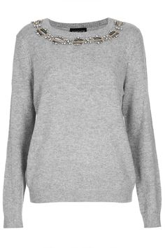 Knitted Stud Necklace Jumper - Knitwear - Clothing - Topshop
