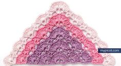 MyPicot | Free crochet patterns. Simple openwork pattern for Triangle shawl: Diagram + step by step instruction ✿⊱╮Teresa Restegui http://www.pinterest.com/teretegui/✿⊱╮