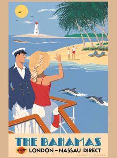 Bahamas-Nassau-London-Direct-Caribbean-Vintage-Travel-Advertisement-Poster
