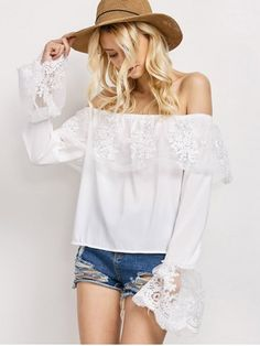 GET $50 NOW | Join RoseGal: Get YOUR $50 NOW!http://www.rosegal.com/blouses/lace-frill-off-the-shoulder-988746.html?seid=8047480rg988746