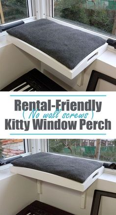 A way to give your cat a window-perch, if you aren't allowed to screw into your walls