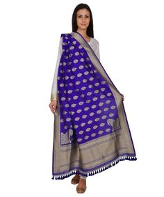 Blue Floral Benarasi Hand Woven Pure Silk Dupatta