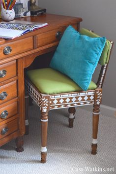 Thrift store chair makeover using Indian Inlay Stencil by CuttingEdge.  Get the Moroccan/Indian bone inlay furniture look without the high cost.