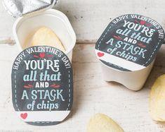 Chip Stack Valentine for Pringles snack packs printable diy Valentine's day treat Kinder Valentines, Valentines Day Treats, Valentine Day Crafts, Be My Valentine, Valentine Party, Homemade Valentines, Valentine Gifts For Teachers, Printable Valentine, Preschool Valentine Ideas