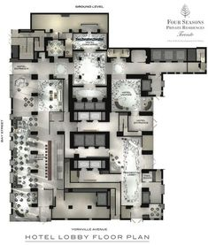 Layout plan Four Seasons Hotel and Private Residences Toronto - Ground Floor Plan Sizing Up Siding: Design Hotel, Hotel Floor Plan, Planer Layout, Hotel Restaurant, Color Plan, Floor Plan Layout, Ground Floor Plan, Hotel Interiors, Four Seasons Hotel
