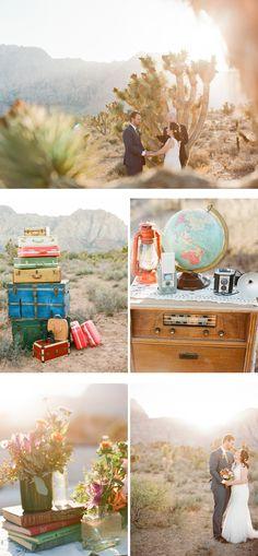 wes anderson inspired desert wedding in las vegas | photographer: Gaby J Photography | vintage rentals & prop styling: @nostalgia resources | florist: @Jill Salazar-Ferrero