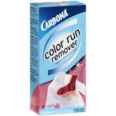 "Carbona Color Run Remover ~ The miracle eraser if you have laundry color ""bleeding""."