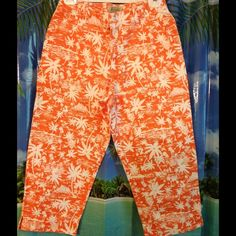 SALE  ✅ ST.JOHN'S BAY CAPRI 200/125 SVDP NWOT These Capri pants are made with 100% Cotton. Orange with White Palm Trees / Little People/Fishing Boats and Huts . Front zipper closure/one button closure. Two front pockets. Has belt loops .The back has two pockets.   Top- Rated Seller  Fast Shipper  $ Discount on Bundles  Free Gift for all Orders $20 & Up  PayPal Trades St. John's Bay Pants Capris