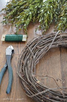 Easy and inexpensive way to create a faux boxwood wreath for your home decor.