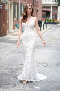 Sleeveless beaded corded lace and glitter tulle sheath bridal gown features lace spaghetti straps, plunging V-neckline with tulle modesty inset, low open back, floor length stretch lining, chapel train. Mon Cheri Wedding Dresses, Bridal Dresses, Wedding Gowns, Bridesmaid Dresses, Glamour, Beaded Lace, Buy Dress, Bridal Collection, Formal Wear