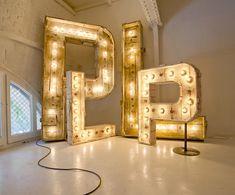 Delightful and elegant use of vintage metal display type as art Neon Lighting, Lighting Design, Exterior Design, Interior And Exterior, Interior Ideas, Creative Inspiration, Design Inspiration, Wedding Inspiration, Giant Letters