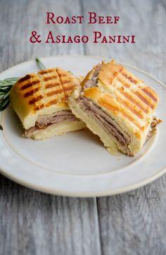 Roast Beef & Asiago Panini | Carrie's Experimental Kitchen #sandwich #panini #asiagocheesepdo #beef