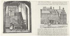 Anonymous | Trap waar Willem van Oranje is vermoord en de ingang naar het Prinsenhof, Anonymous, 1830 - 1850 | De trap in het Prinsenhof te Delft waar Willem van Oranje is vermoord door Balthasar Gerards op 10 juli 1584. Een man leest het tekstbordje, een vrouw met een jongen komen de trap af. Een koets geparkeerd voor de ingang naar het Prinsenhof, zoals het zich vertoonde ca. 1840. Beide afbeeldingen staan in een artikel in het Hollandsch penning-magazijn voor de jeugd, hierbij behoort ook…