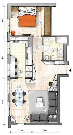 28 fantastiche immagini su house pianta rettangolare casa for Progetto casa piccola