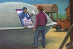 """Simonton encounter USA 18-4-1961. """"Joe Simonton watched a UFO land in his farmyard near Eagle river. A human like alien handed him a jug and gestured for water. In return he was given four small pancakes before they departed. On examination by researchers they were found to be made of terrestrial ingredients and tasted like cardboard. There was much publicity and Simonton regretted telling anybody about it."""" (Ilustration by Michael Buhler.)"""