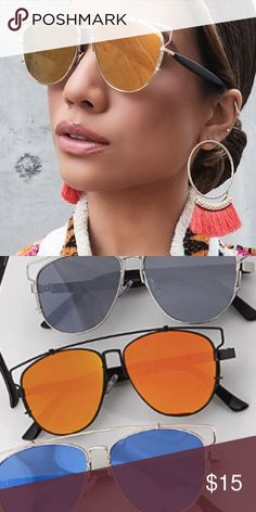 """NWT    Black Orange Aviator Technologic Sunglasses Get the Dior Technologic Look without the price. Black Wire frame with orange reflective lenses. Cushioned nose bridge. Available in other colors. 5.6""""W x 2""""H. Price is firm unless bundled. Bundle 4 or more and save 20%. Accessories Sunglasses"""