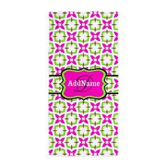 Neon Green and Pink Pattern Personaliz Beach Towel