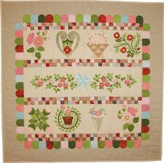 Floyes Garden - Charming wool applique pattern that can also be done with embroidery.