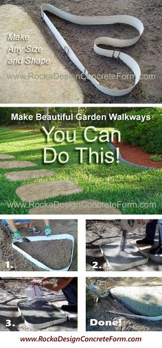 Make custom concrete stepping stone walkways, garden paths & patios with ROCKA DESIGN™ Custom Stone Maker.